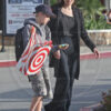 PREMIUM EXCLUSIVE. Coleman-Rayner Los Angeles, CA, USA. April 24, 2017 Angelina Jolie and daughter Shiloh share an intimate conversation as they enjoy a mommy-daughter day out, while being escorted by a handsome new security guard. The pair picked up a new guitar before heading to a neighborhood Target store for some shopping. Onlookers - including local Sheriffs - did a double take as they recognized the famous mom-of-six, who was making her first public outing since mid-February [she was last seen promoting her upcoming movie, ÔFirst They Killed My FatherÕ in Cambodia.] Angelina was clad in her signature all-black while Shiloh, who turns 11 on May 27, wore a tomboy outfit of gray sweat shirt and jeans, black sneakers and a Liverpool FC baseball cap. Angelina was wearing a new ring on her right hand. CREDIT LINE MUST READ: Coleman-Rayner Tel US (001) 310 474 4343 - office  www.coleman-rayner.com